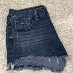 PINK Victoria's Secret Shorts - PINK Victoria's Secret dark denim frayed shorts